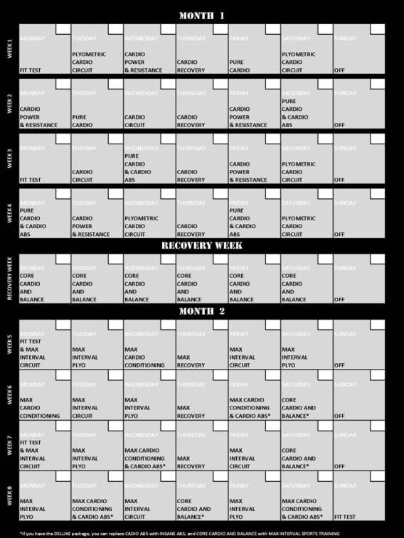 Insanity Fitness Program 60 Day Calendar